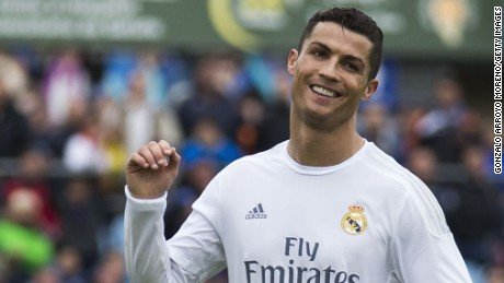 Cristiano Ronaldo celebrates scoring his team's fifth and final goal in the emphatic win at Getafe.