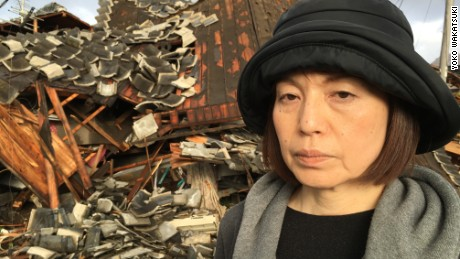 Kiyomi Matsuoka's home in Mashiki town was destroyed by Saturday's earthquake.
