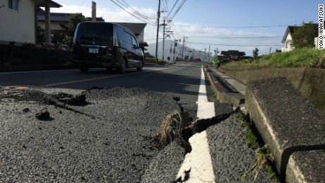 A road cracked from the immense quake.