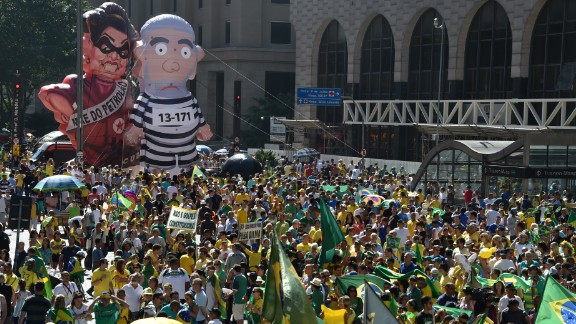 Activists supporting Rousseff's impeachment take part in a protest Sunday in Sao Paulo.