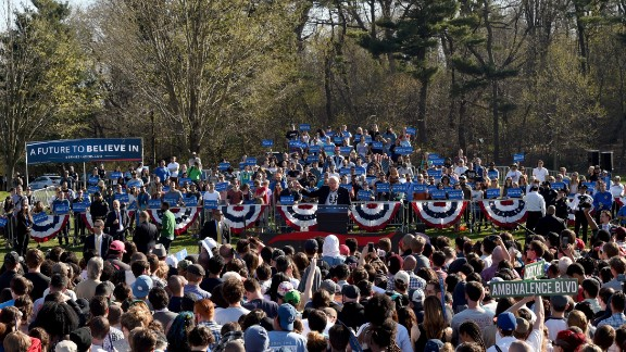 """Democratic Presidential Candidate Bernie Sanders speaks during """"A Future To Believe In GOTV Rally"""" in Brooklyn's Prospect Park."""
