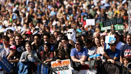Throngs of supporters listen as Democratic Presidential candidate Bernie Sanders speaks in Prospect Park to hear Democratic Presidential candidate Bernie Sanders speak on April 17, 2016 In the Brooklyn borough of New York City. While Sanders is still behind in the delegate count with Hillary Clinton, he has energized many young and liberal voters around the country. New York holds its primary this Tuesday. (Photo by Spencer Platt/Getty Images)