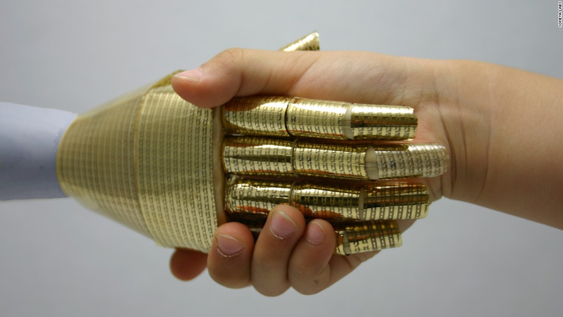 "In 2003, Takao Someya, Professor of electrical engineering at the University of Tokyo, had the ""futuristic"" idea to invent an e-skin that would enable a robot to gauge a person's emotion simply by shaking their hand."
