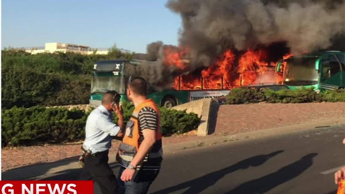 image of Bus catches fire in Jerusalem
