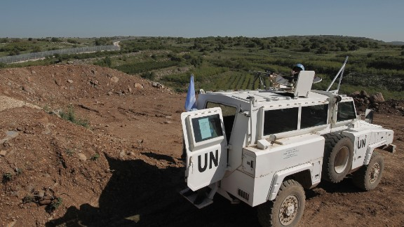 United Nations peacekeeping forces near the border with Syria in the Israeli-controlled Golan Heights.