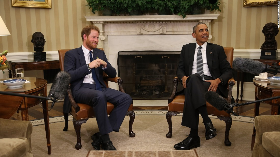 President Barack Obama meets with Prince Harry in the Oval Office on October 28, 2015.