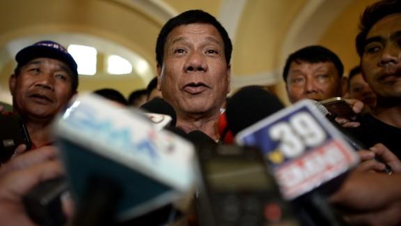 Philippines Presidential Candidate Rodrigo Duterte.