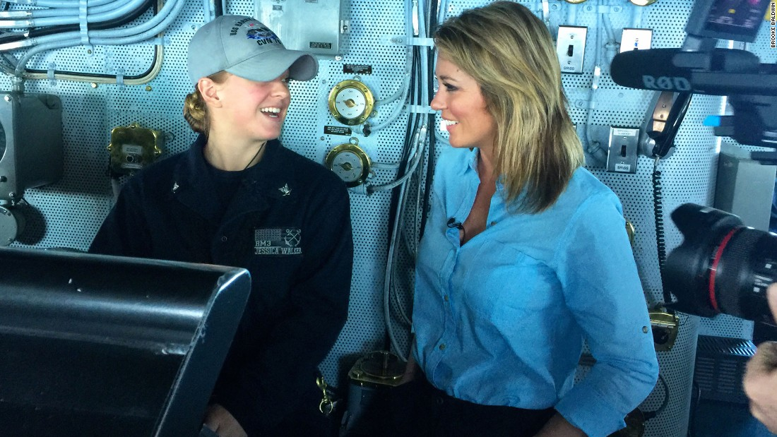 Petty Officer Jessica Walker, 22, is master helmsman on the USS Truman. She's the one driving the carrier!