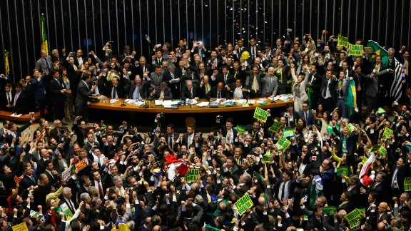 A total of 367 lawmakers in the lower house voted to impeach Rousseff, the country