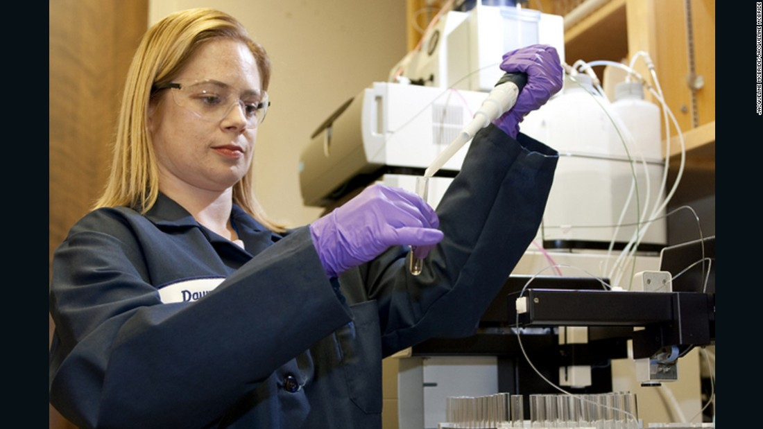 Dr. Dawn Shaughnessy's group at the Lawrence Livermore National Laboratory discovered element 117. Pictured, she prepares a sample for chemical analysis of the as yet unnamed element 117.