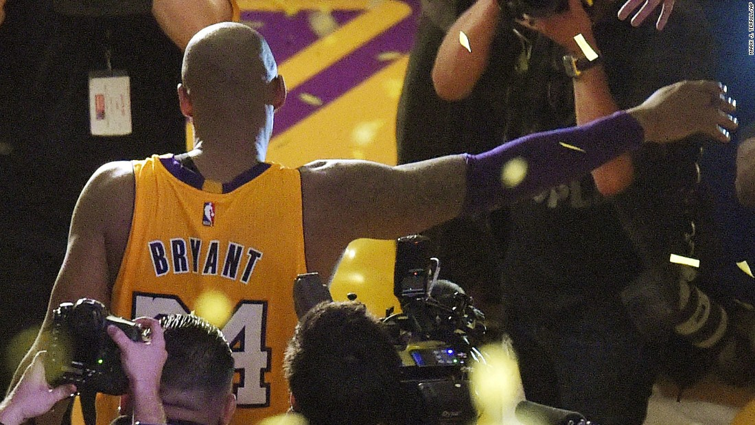 "NBA star Kobe Bryant walks off the court in Los Angeles after finishing the final game of his 20-year career on Wednesday, April 13. Bryant, the third-leading scorer in NBA history, <a href=""http://www.cnn.com/2016/04/13/sport/kobe-bryant-final-game/"" target=""_blank"">finished the game with 60 points</a> and rallied the Lakers to a comeback victory against Utah."