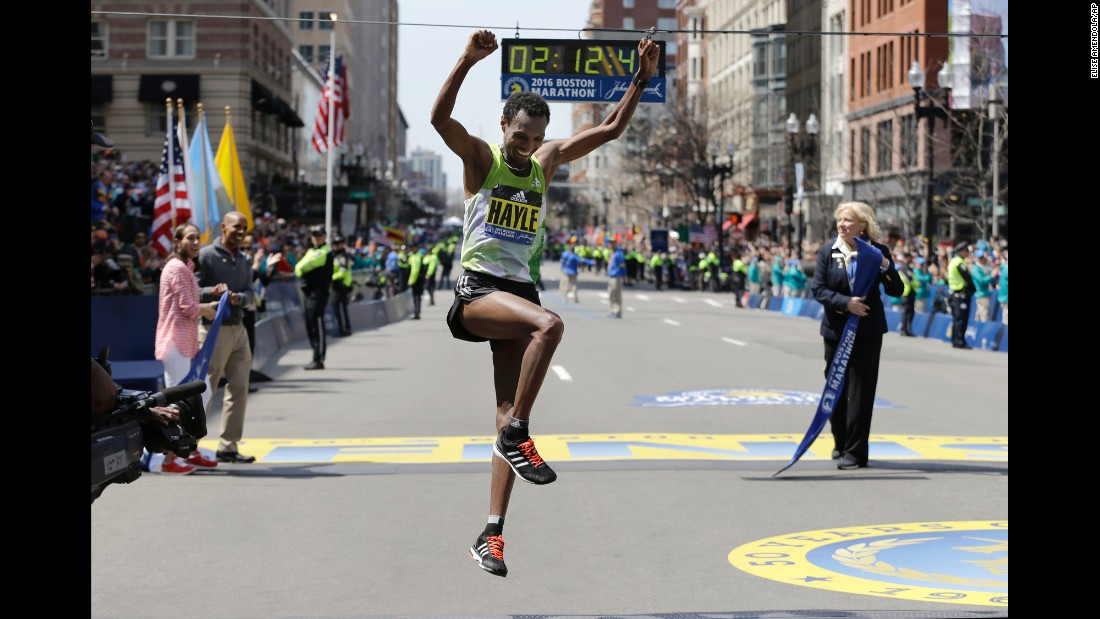 "Lemi Berhanu Hayle of Ethiopia celebrates after <a href=""http://www.cnn.com/2016/04/18/us/120th-boston-marathon/index.html"" target=""_blank"">winning the 120th Boston Marathon</a> on Monday, April 18. Hayle won the elite men's division in an unofficial time of 2:12:45."