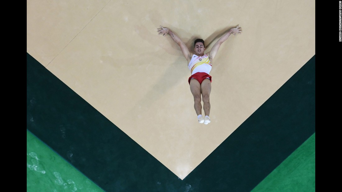 Adria Vera Mora of Spain competes on the floor during qualification in the Artistic Gymnastics Aquece Rio Test Event at the Olympic Park in Rio de Janeiro on April 16.