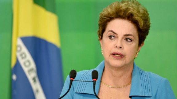 "Brazilian President Dilma Rousseff speaks during a press conference at Planalto Palace in Brasilia on April 18, 2016. President Rousseff said Monday that she is ""outraged"" by a vote in Congress to authorize impeachment proceedings against her and vowed to keep fighting. / AFP / EVARISTO SA        (Photo credit should read EVARISTO SA/AFP/Getty Images)"