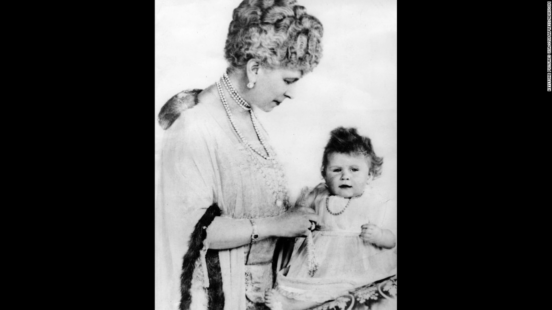 Queen Mary with her granddaughter Princess Elizabeth on the day of her 1st birthday, April 21, 1927.