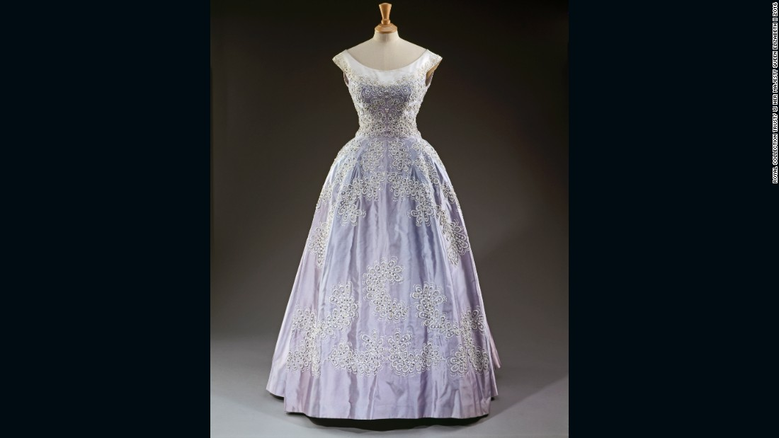 Pale blue silk faille evening gown by Norman Hartnell, worn at the Royal Lyceum, Edinburgh during the State Visit of King Olav of Norway.
