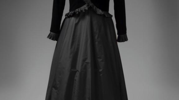 Black silk velvet and taffeta dress by Ian Thomas, worn to meet Pope John Paul II at the Vatican.