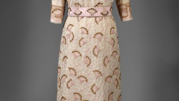 Silk evening dress entirely embroidered with beads and sequins with gold thread by John Anderson, worn to the Commonwealth Heads of Government reception held at the Palace of Holyroodhouse.