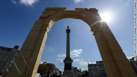 LONDON, ENGLAND - APRIL 19:  A replica of the Triumphal Arch at Palmyra is unveiled in Trafalgar Square on April 19, 2016 in London, England. The 2000 year old arch in the Syrian city of Palmyra was destroyed by Islamic State forces in October 2015. The replica is intended as an act of defiance against ISIS. (Photo by Chris Ratcliffe/Getty Images)