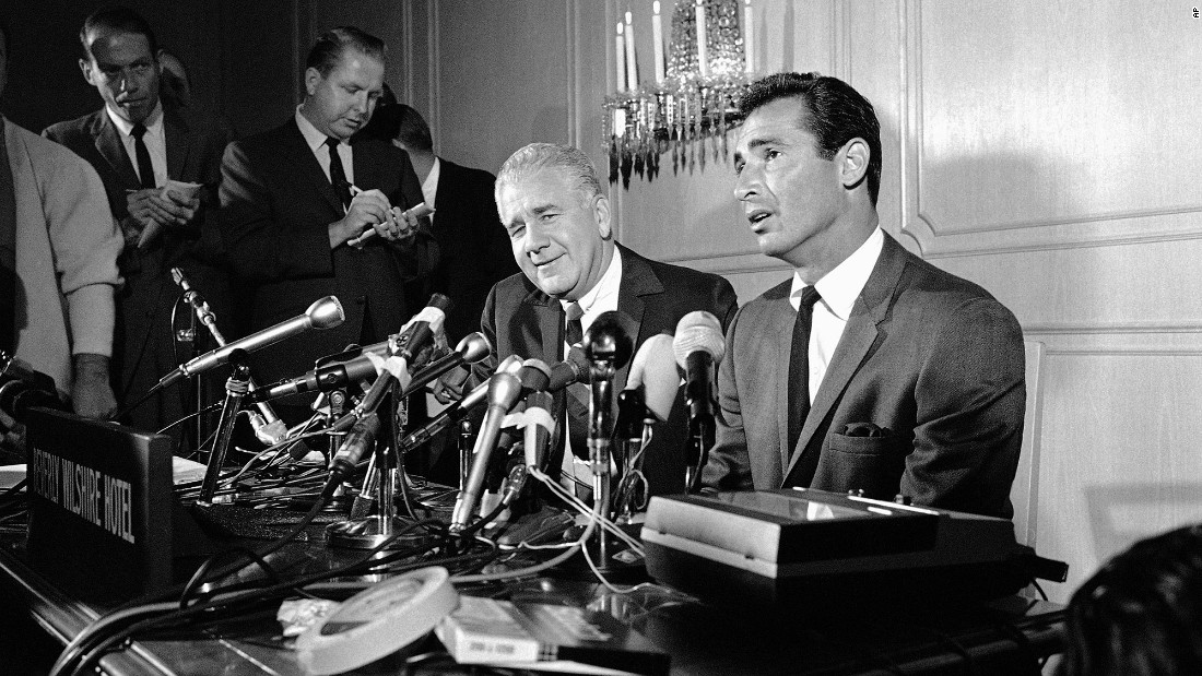 Sandy Koufax, right, one of the best pitchers in MLB history, said in a press conference in Beverly Hills on November 18, 1966, he had asked the Los Angeles Dodgers to retire him because of painful arthritis in the elbow of his pitching arm. He was 30 at the time and had just won his third Cy Young Award after leading the Dodgers to the National League pennant.
