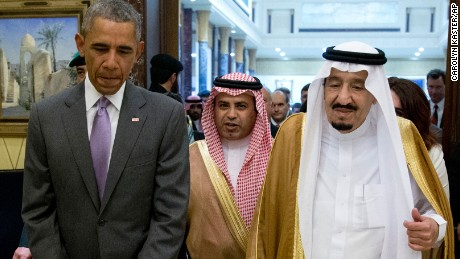 President Barack Obama and Saudi Arabia's King Salman walk together to a meeting at Erga Palace in Riyadh, Saudi Arabia, Wednesday, April 20, 2016. The president begins a six day trip to strategize with his counterparts in Saudi Arabia, England and Germany on a broad range of issues with efforts to rein in the Islamic State group being the common denominator in all three stops. (AP Photo/Carolyn Kaster)