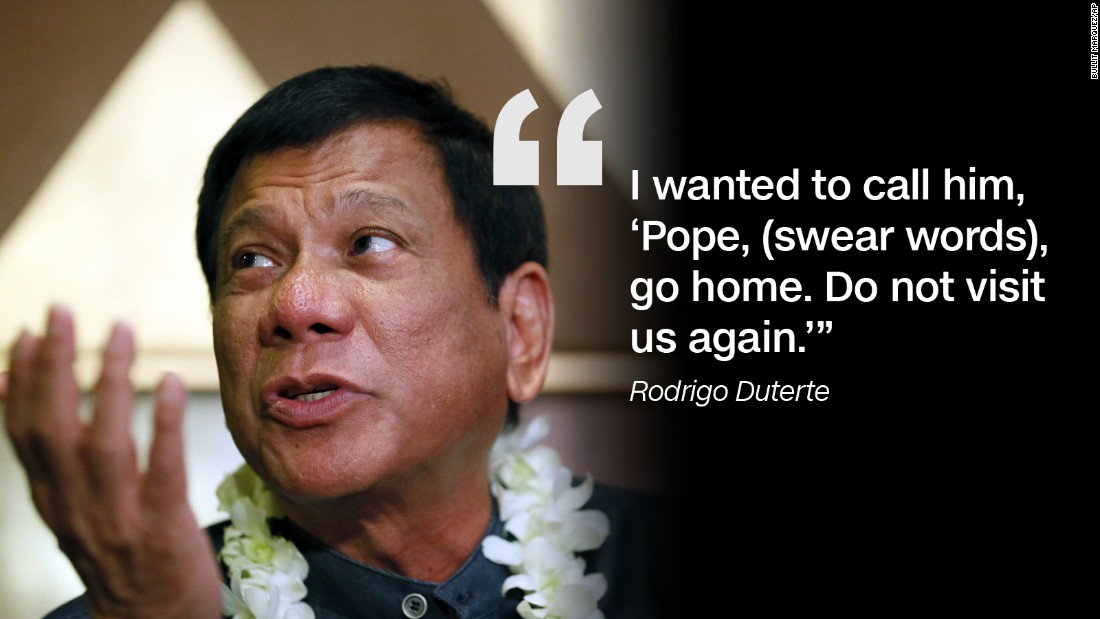 Duterte apologized to the Pope after cursing him for the traffic he caused during a 2015 Papal visit to the Philippines.