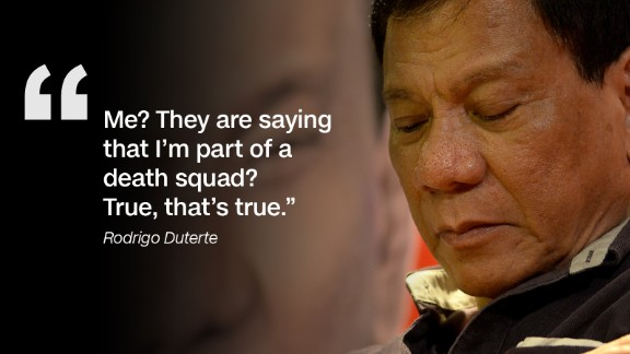 Although he later denied the accusations, the former Davao City mayor admitted his links to the alleged Davao death squad in a May 2015 broadcast of his local television talk show.