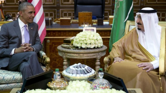 "Obama and Saudi King Salman meet at Erga Palace in Riyadh on Wednesday, April 20. The White House moved to tamp down suggestions that ties with Saudi Arabia are fraying, with administration officials saying the two leaders ""really cleared the air"" in their meeting."