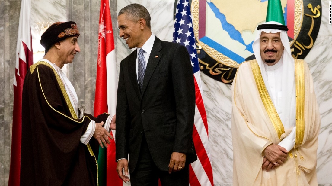 Oman's Deputy Prime Minister Sayyid Fahad Mahmoud Al Said, left, President Barack Obama and Saudi King Salman gather for a group photo at the Gulf Cooperation Council summit on Thursday, April 21, at Diriyah Palace in Riyadh, Saudi Arabia. Obama is in Saudi Arabia to meet with Gulf leaders and is expected to discuss regional conflicts, the role of Iran and the fight against ISIS. He heads to Britain and Germany after Saudi Arabia.