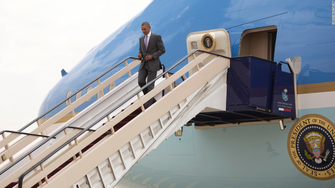 Obama arrives on Air Force One at King Khalid International Airport in Riyadh on April 20. Saudi King Salman did not greet the President on his arrival. The perceived slight was seen as one more sign that the U.S.-Saudi relationship is encountering friction.