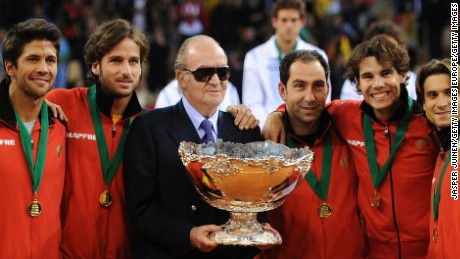 SEVILLE, SPAIN - DECEMBER 04: (L-R) Marcel Granollers, Fernando Verdasco, Feliciano Lopez, King Juan Carlos of Spain, team captain Albert Costa, Rafael Nadal and David Ferrer pose with the Davis Cup trophy during the third and last day of the final Davis Cup match between Spain and Argentina on December 4, 2011 in Seville, Spain.  (Photo by Jasper Juinen/Getty Images)