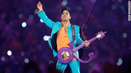 Prince performs at Super Bowl XLI at Dolphin Stadium in Miami in 2007.