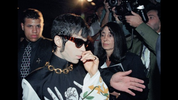 Prince arrives at the Ritz Hotel in Paris in 1994.