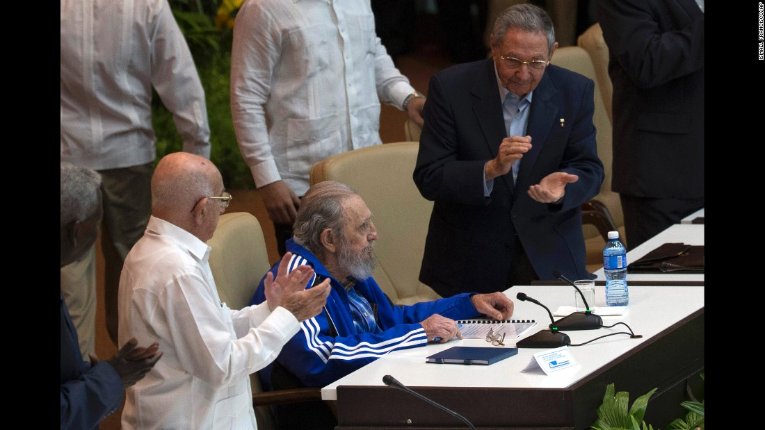 Fidel Castro is applauded by his brother, Cuba's President Raul Castro, right, during the closing ceremonies for the Seventh Congress of the Cuban Communist Party in Havana, Cuba, on Tuesday, April 19. Fidel Castro formally stepped down in 2008 after suffering illness and ailments.