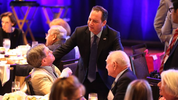 Reince Priebus, the chairman of the Republican National Committee, speaks with people during the Republican National Committee Spring Meeting at the Diplomat Resort on April 21, 2016 in Hollywood, Florida.
