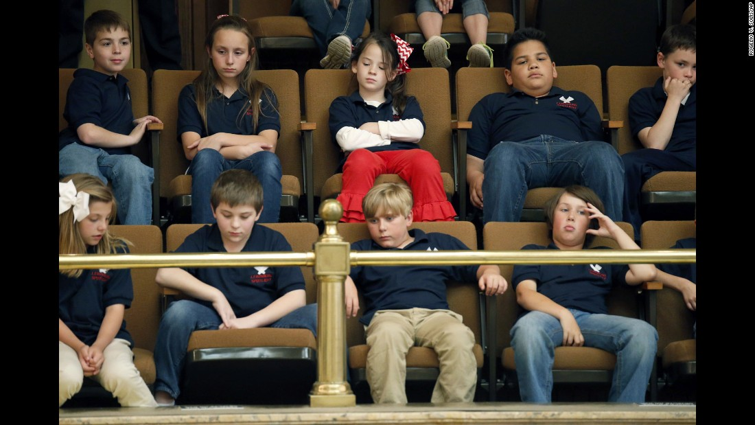 Students from the Lewisburg Elementary School in Olive Branch, Mississippi, observe the House in session at the Capitol in Jackson on Wednesday, April 20.