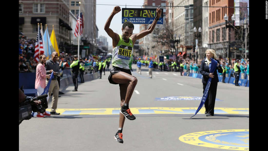 "Lemi Berhanu Hayle of Ethiopia celebrates after winning the <a href=""http://www.cnn.com/2016/04/18/us/120th-boston-marathon/"" target=""_blank"">120th Boston Marathon</a> on Monday, April 18."