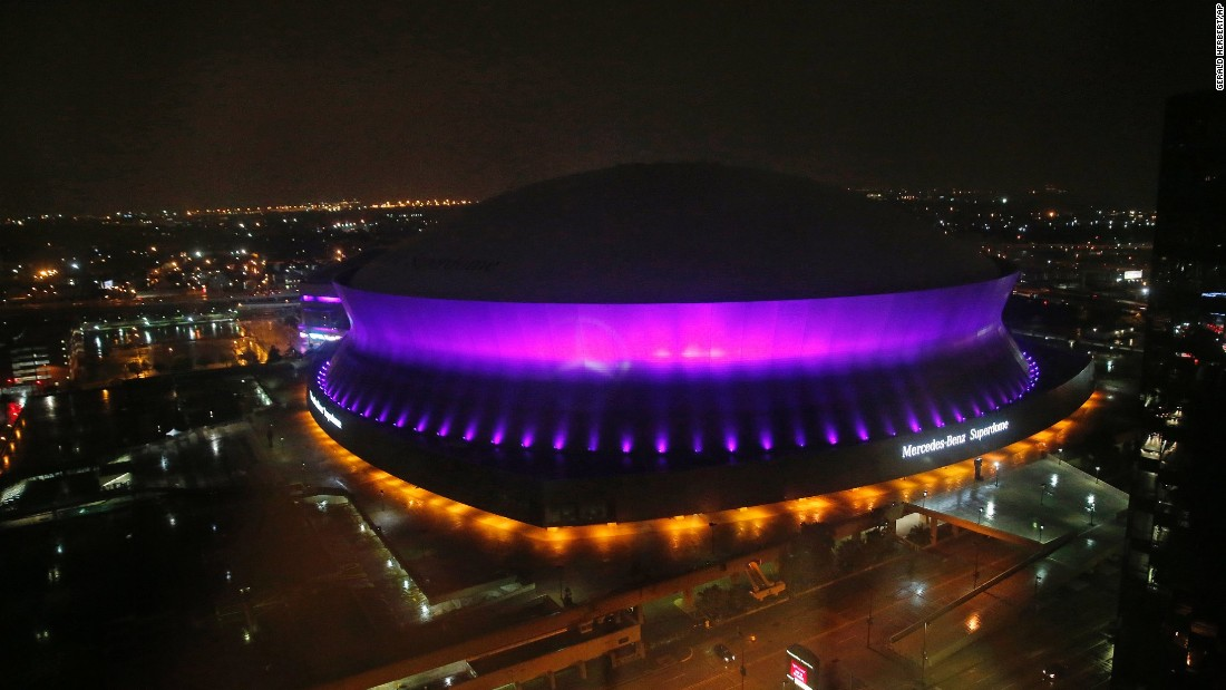 The Mercedes-Benz Superdome in New Orleans is lit up in the color purple to honor the pop legend.