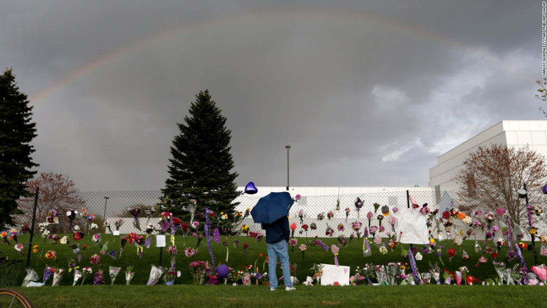 A rainbow appears over Paisley Park Studios near a memorial for Prince in Chanhassen, Minnesota, on Thursday, April 21. The legendary musician died at his home in Minnesota. He was 57.