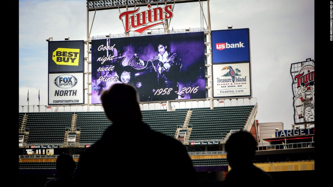 A tribute is displayed on the scoreboard at Target Field in Minneapolis on April 21.