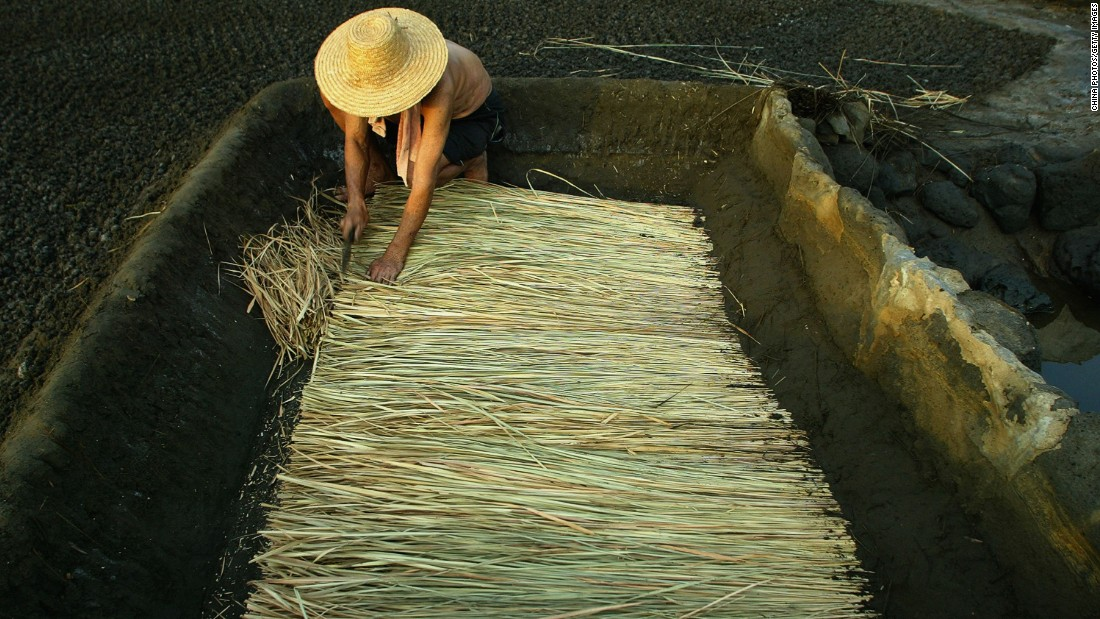 A Chinese man in a fishing village prepares straw and bamboo mats to be used for creating thick brine which is then turned into salt.