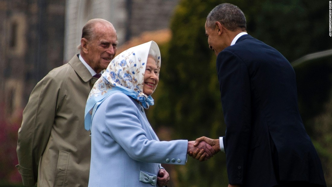 Queen Elizabeth II and her husband, Prince Philip, greet Obama outside Windsor Castle on Friday, April 22.