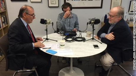 "Mike Murphy records ""The Axe Files"" podcast with David Axelrod at the University of Chicago"