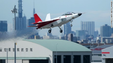 The X-2 advanced technological demonstrator plane of the Japanese Air Self-Defence Force takes off at Komaki Airport in Komaki, Aichi prefecture, Japan on Friday, April 22.