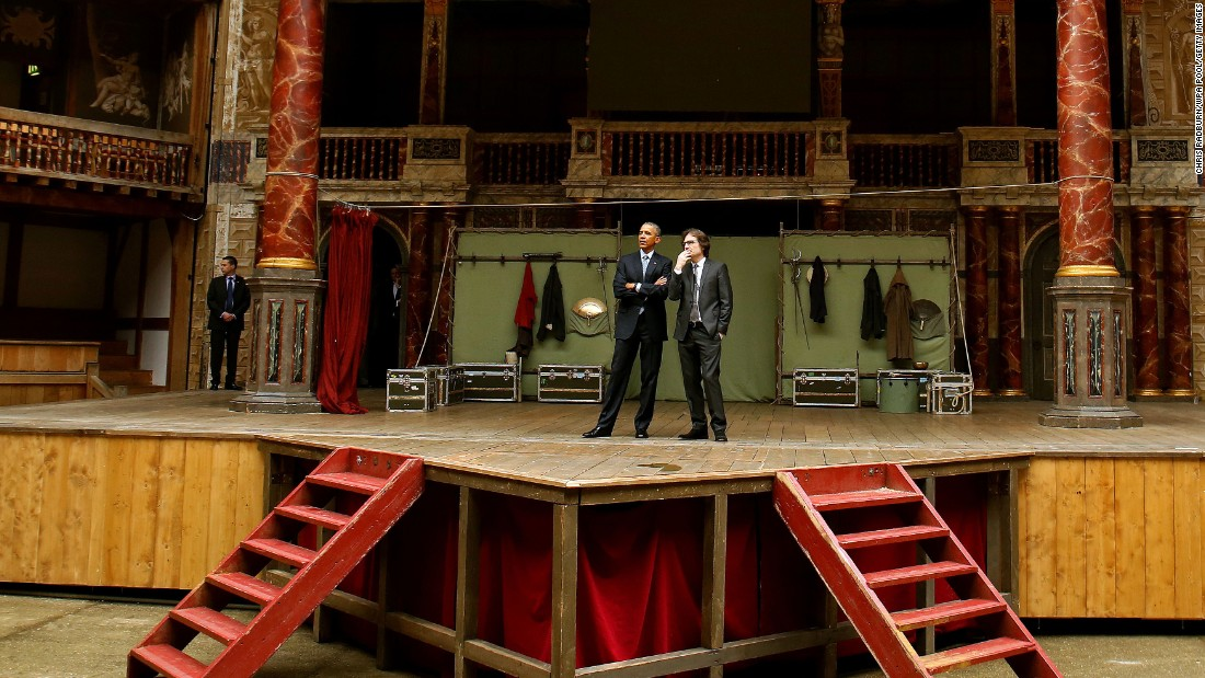 Obama takes a brief tour of the Globe Theatre in London with Patrick Spottiswoode, director of Globe Education, marking the 400th anniversary of the death of William Shakespeare on April 23.