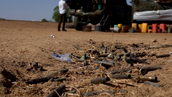 Empty ammunition cases litter the ground, untouched since they flew from the machine guns used in a skirmish between the Nigerian army and Boko Haram fighters.