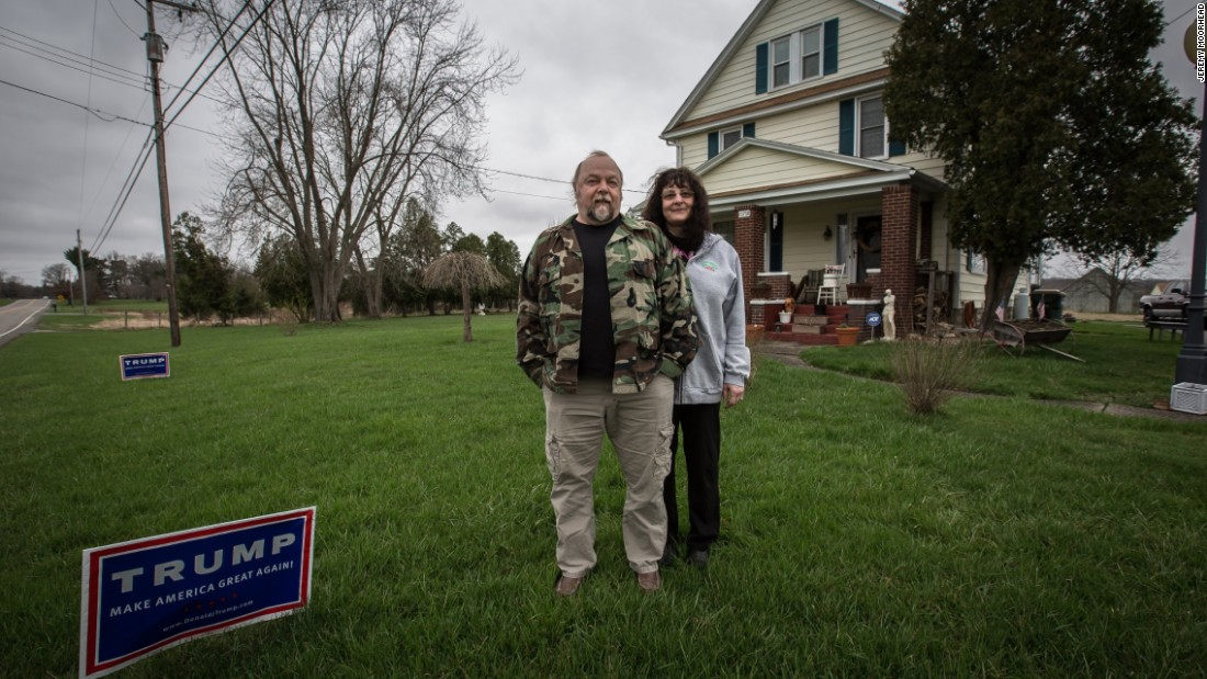 "Last month, Trump lost the Ohio Republican primary to the state's governor, Kasich. But the GOP front-runner proved to be strong in the counties along the state's eastern border, including Columbiana County, where he beat Kasich by 9 points. That's where Gary, 58, and Chris Gray, 53, live, just south of Youngstown. They have Trump signs in their front yard (and an extra one in their dining room ""in case one of their friends needs one"") and a bumper sticker on their Ford pickup.   Both Grays have voted for Democrats and Republicans in the past. This year, they are inspired by Trump's promise of change. ""He does say some things that are off the wall a little bit, but he's talking to the average person,"" Gary Gray said. ""He's talking to people who haven't finished school."" If Trump goes into the Republican convention this summer with the most delegates but doesn't come out of it as the GOP nominee, the Grays believe there will be riots: ""It's going to be the people against the government."""