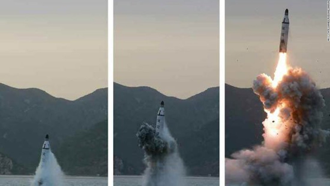 "Images published by North Korean state media purport to show a <a href=""http://www.cnn.com/2016/04/23/asia/north-korea-launches-missile-from-submarine/"">submarine-launched ballistic missile</a> (SLBM) off the eastern coast of the Korean peninsula on Saturday, April 23, 2016. Five days later, South Korea claims the North launched <a href=""http://www.cnn.com/2016/04/28/asia/north-korea-failed-missile-launch/index.html"">two more missiles on April 28 that failed.</a>"