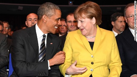 President Barack Obama and German chancellor Angela Merkel joke around proir to the opening evening of the Hannover Messe trade fair on April 24, 2016 in Hanover, Germany.