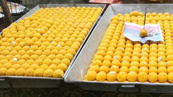 Laddu, seen here at a market in Kolkata, India, are popular sweets for celebratory occasions.